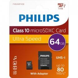 Memoria Micro SD PHILIPS + Adaptador 64GB