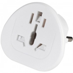 Adaptador de viaje world to eu, blanco,