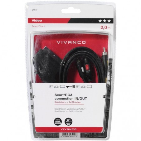 Cable euroconectorvivanco 3 x rca in/out